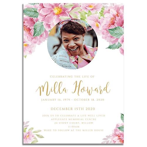 Dusty Fleur Funeral Invitation Prints