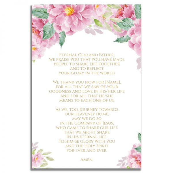 Back Side of Dusty Fleur Funeral Prayer Card