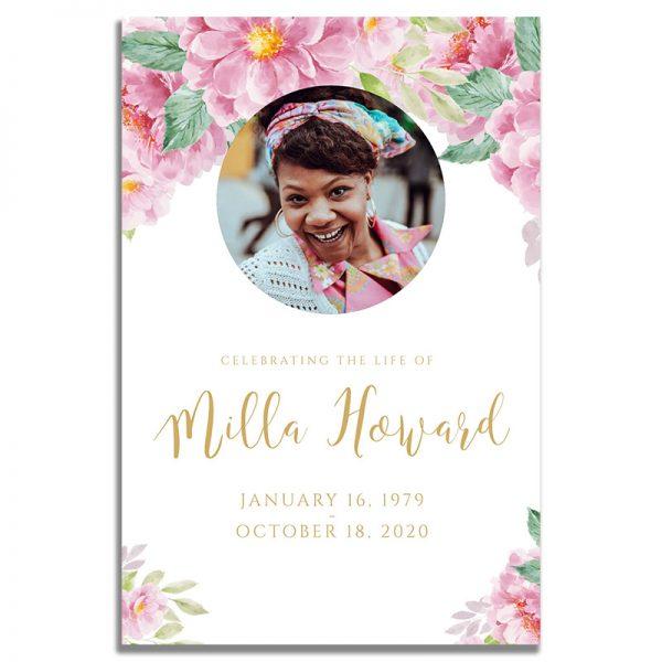 Front - Dusty Fleur Funeral Prayer Card