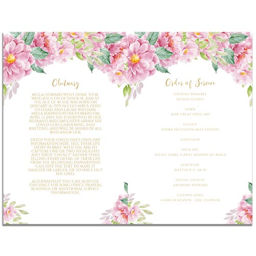 First Page of the 8 Paged Dusty Fleur Funeral Program Template