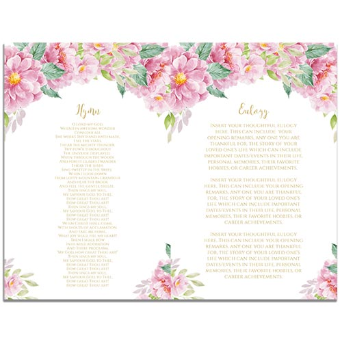 Page 2 of the 8 Paged Dusty Fleur Themed Funeral Program Template