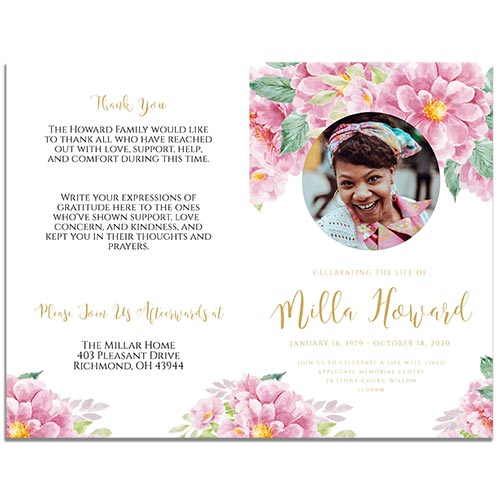 Front & Back Sides of the 8 Paged Dusty Fleur Funeral Program Template