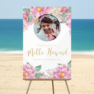 Pink and Gold Dusty Fleur Funeral Welcome Sign