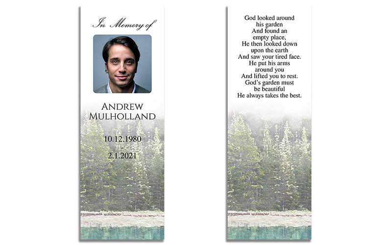 Watercolor Evergreen Trees Illustrated Funeral Bookmarks