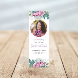 Flora Funeral Bookmark Template