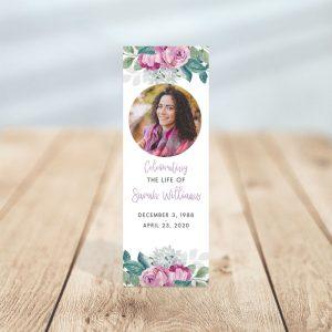 Flora Funeral Bookmark Template