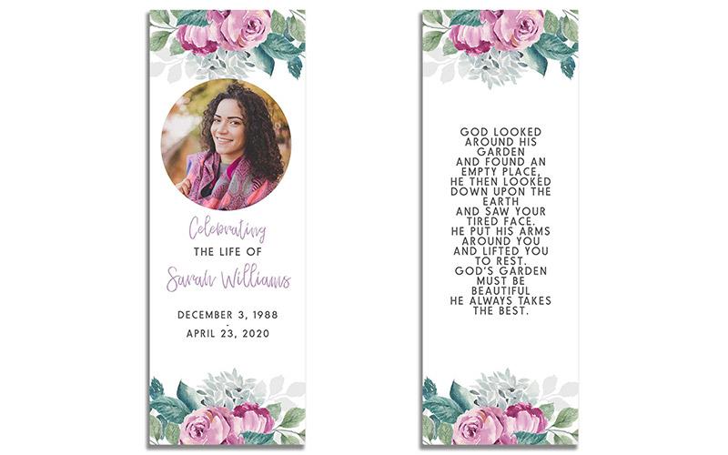 Funeral Memorial Bookmark: Flora