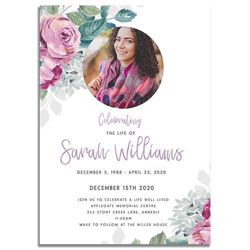 Printable Flora Funeral Invites