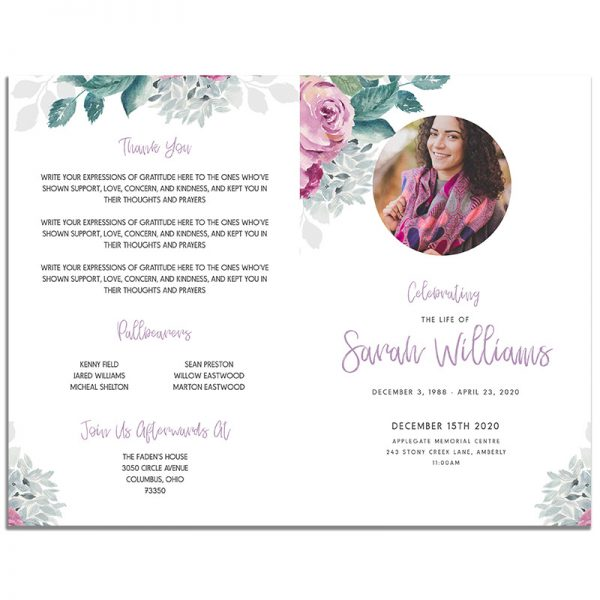 Front and Back Pages of 4 Page Flora Funeral Program Template