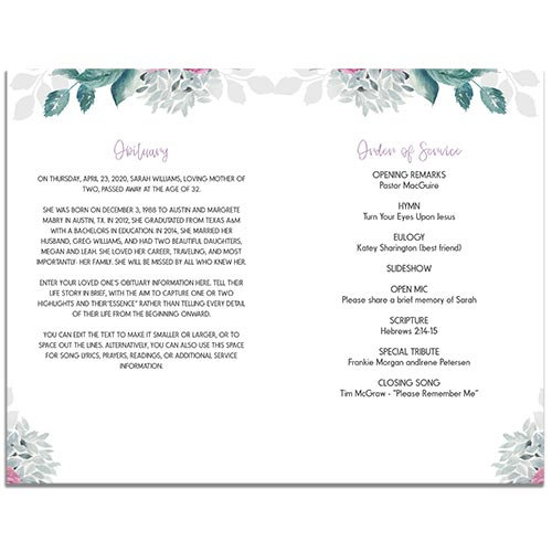 1st Page of the Flora Themed Funeral Program Template