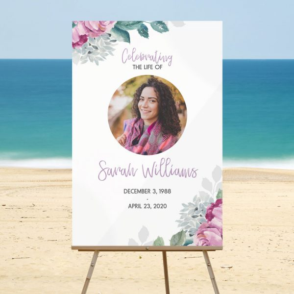Customizable Funeral Welcome Signs: Flora Design