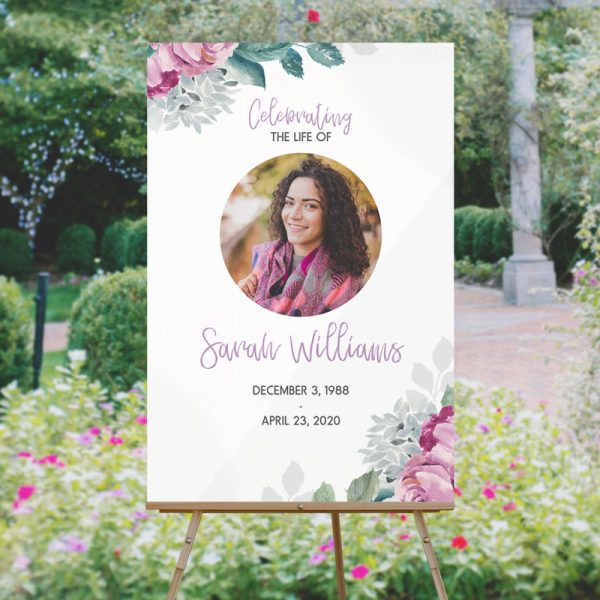 Floral Funeral Welcome Sign Template