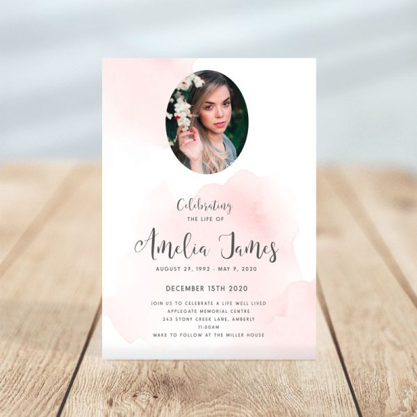 Blush Themed Funeral Invitation