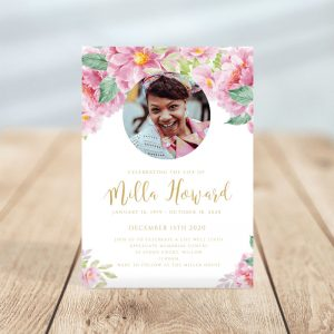 Dusty Fleur Funeral Invitation Template