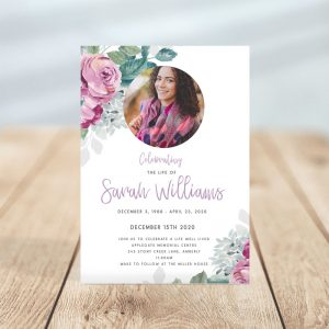 Purple and Green Flora Funeral Invitation