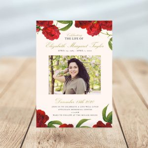 Vintage Rose Funeral Invitation Card Template