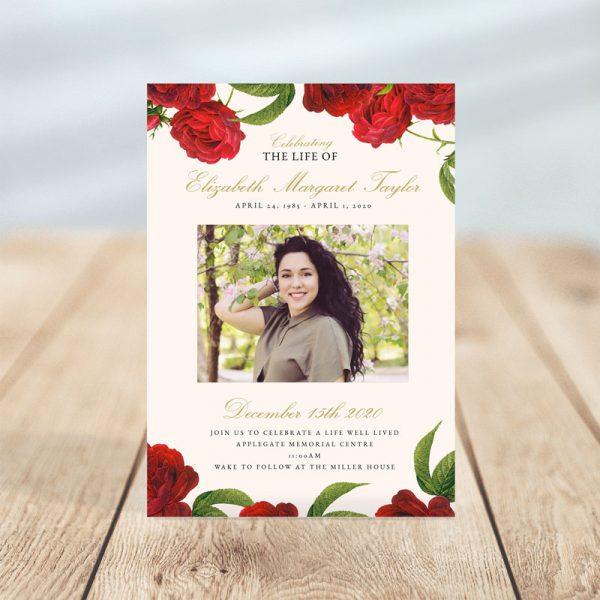 Vintage Rose Funeral Invitation Card Template