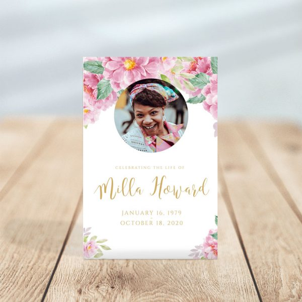 Pink Fleur Funeral Prayer Cards