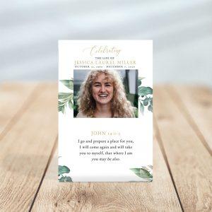 Funeral Prayer Card Template: Leaves