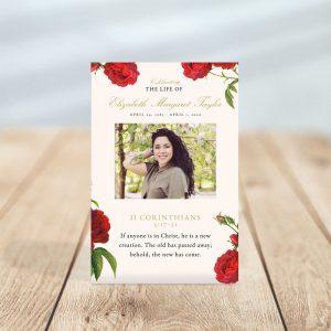 Vintage Rose Designed Funeral Prayer Cards