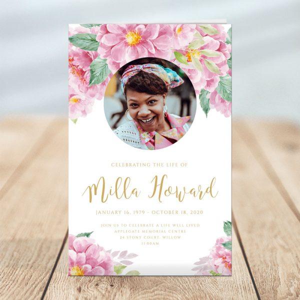 Pink Dusty Fleur Funeral Program Template