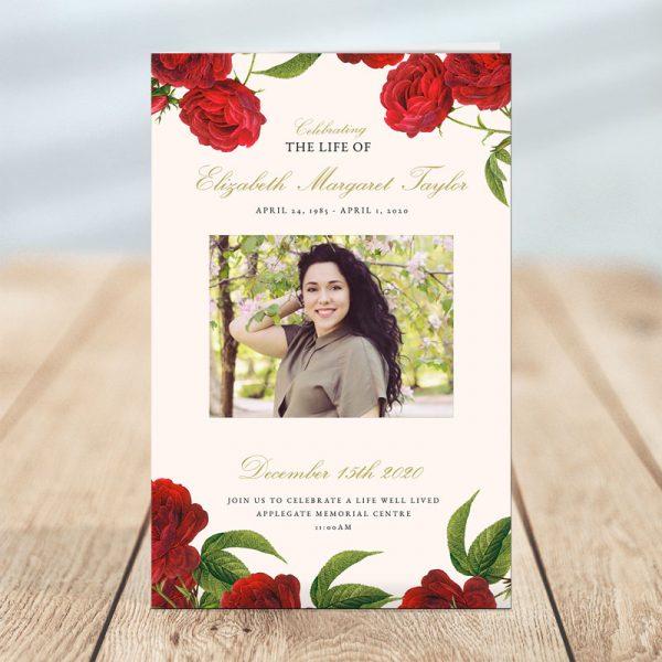 Funeral Program Templates: Vintage Rose