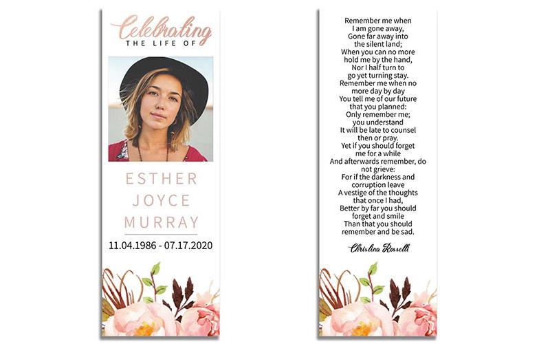 Printable Life Celebration Funeral Bookmarks