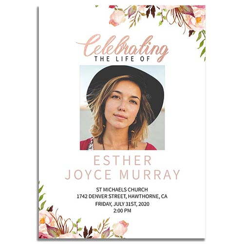 Gentle Floral Theme Funeral Invite Cards