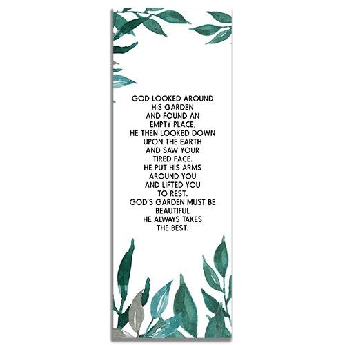 Greenery Funeral Bookmark Template - Back