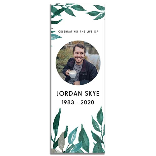 Front of the Greenery Funeral Bookmark Template