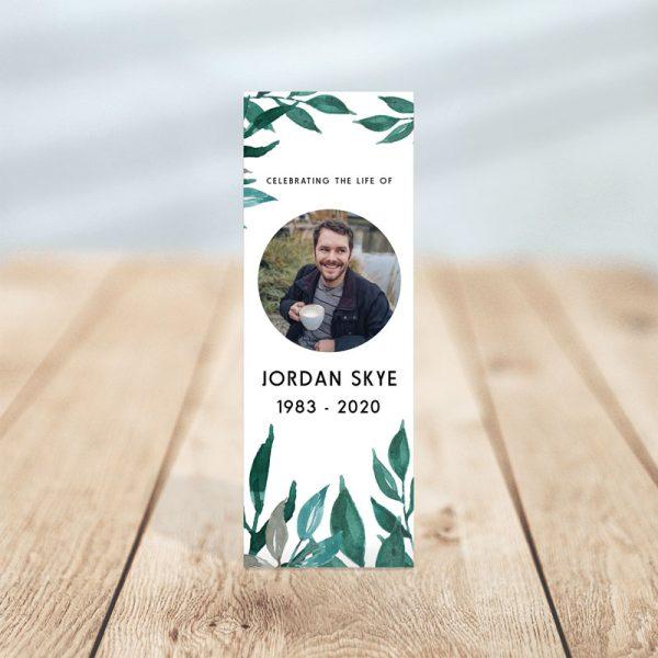 Greenery Funeral Bookmark Template