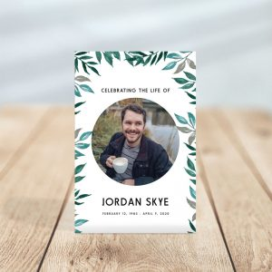 Greenery Themed Funeral Prayer Card Template