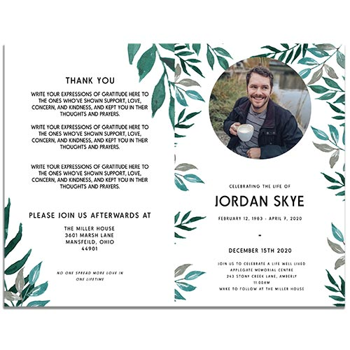 Personalized 4 Page Greenery Funeral Program Template - Front and Back