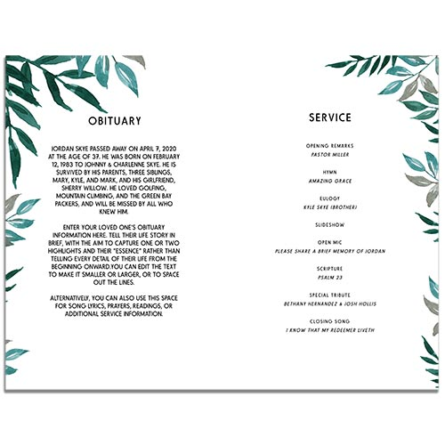 Inside Pages of Greenery 4 Paged Funeral Program Template