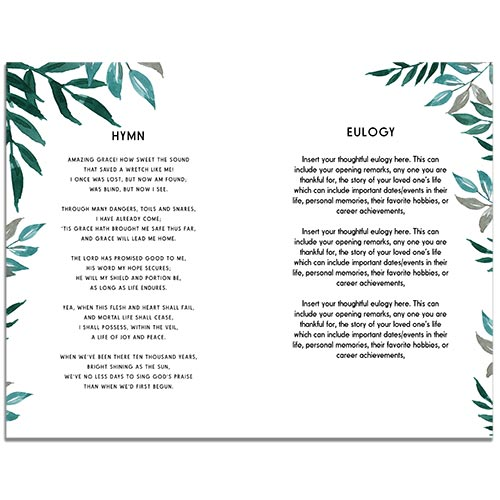Page 2 of the Greenery 8 Page Funeral Program Template