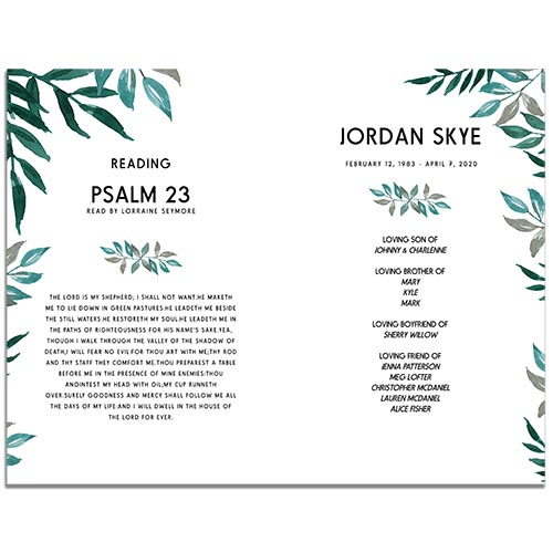 Page Three of the Greenery 8 Paged Funeral Program Template