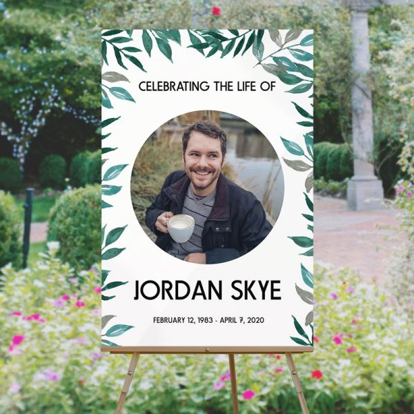 Funeral Welcome Sign Template - Greenery