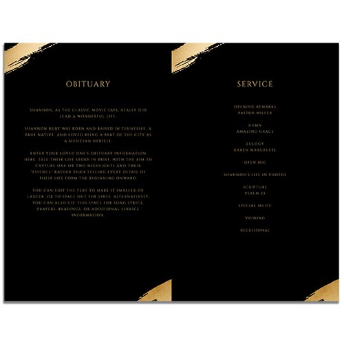 Inside of the 4 Page Hexagon Funeral Program Template