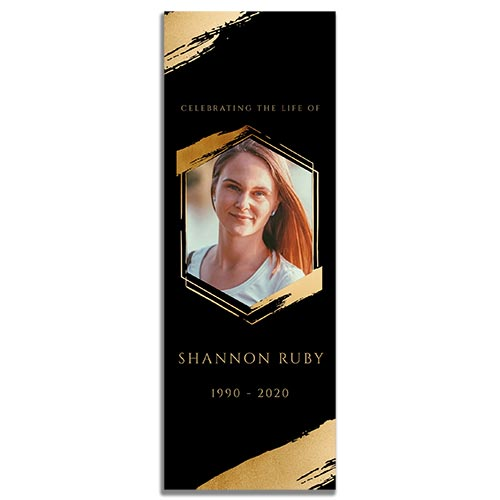Front Side of the Hexagon Funeral Memorial Bookmark Template