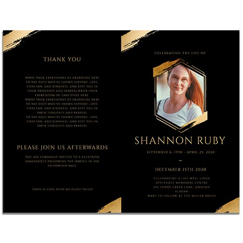 Front & Back Side of the 8 Paged Hexagon Funeral Program Template