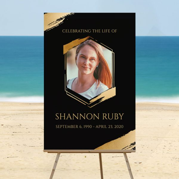 Hexagon Funeral Welcome Sign Template Mock Up Photo