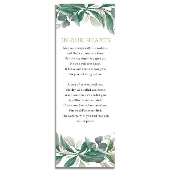 Leaves Funeral Bookmark - Back