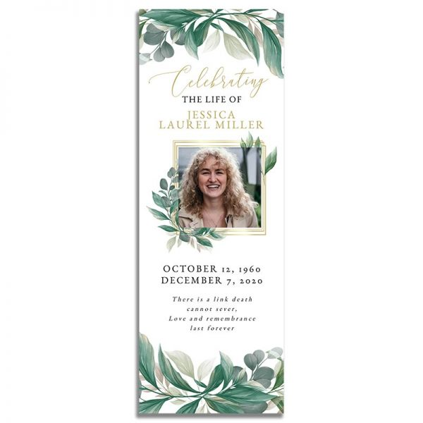 Leaves Funeral Bookmark - Front