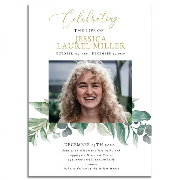 Leaves Themed Funeral Invitation