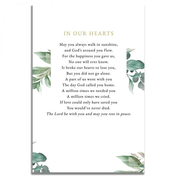 Back of the Leaves Funeral Prayer Card