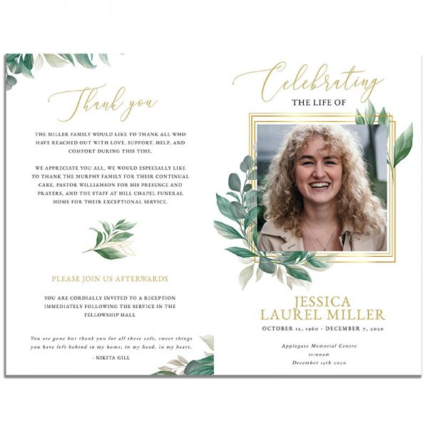 Front & Back of 8 Page Leaves Themed Funeral Program