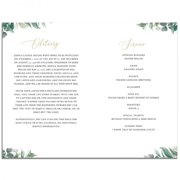 First Page of 8 Page Leaves Funeral Program