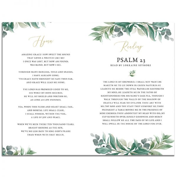 Second Page of the 8 Page Leaves Funeral Program Template
