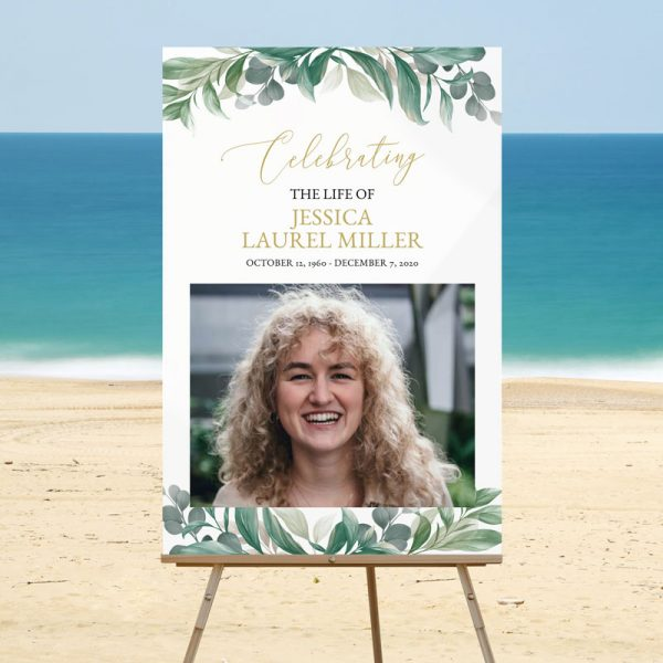 Welcome Sign Templates for Funerals - Leaves