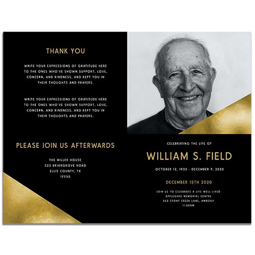 Modern Minimal Funeral Program Templates - Front and Back